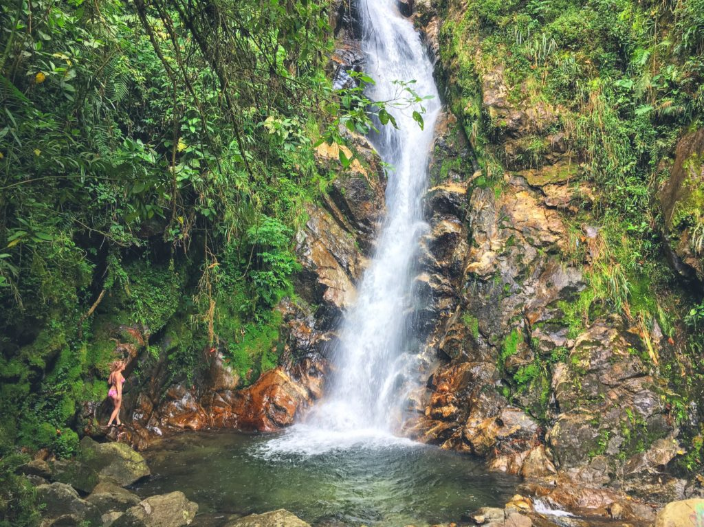 hiking in medellin at the arenales waterfall