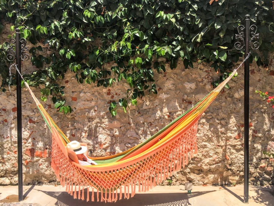 girl chilling in a hammock