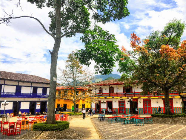 colorful buildings in Jardin's central square