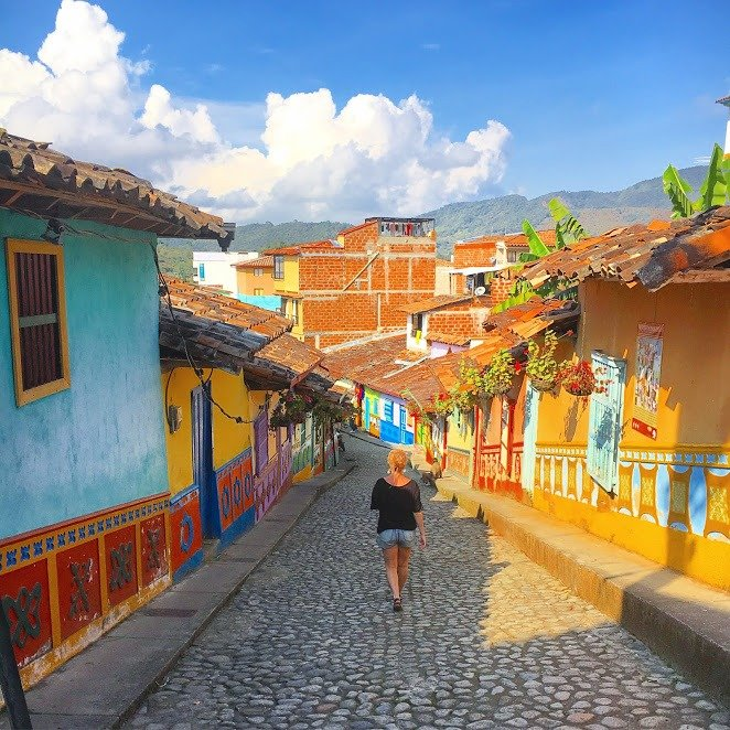 the colorful streets of Guatape, Colombia