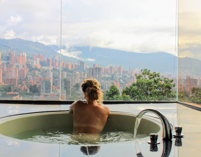 view of medellin from a penthouse in poblado