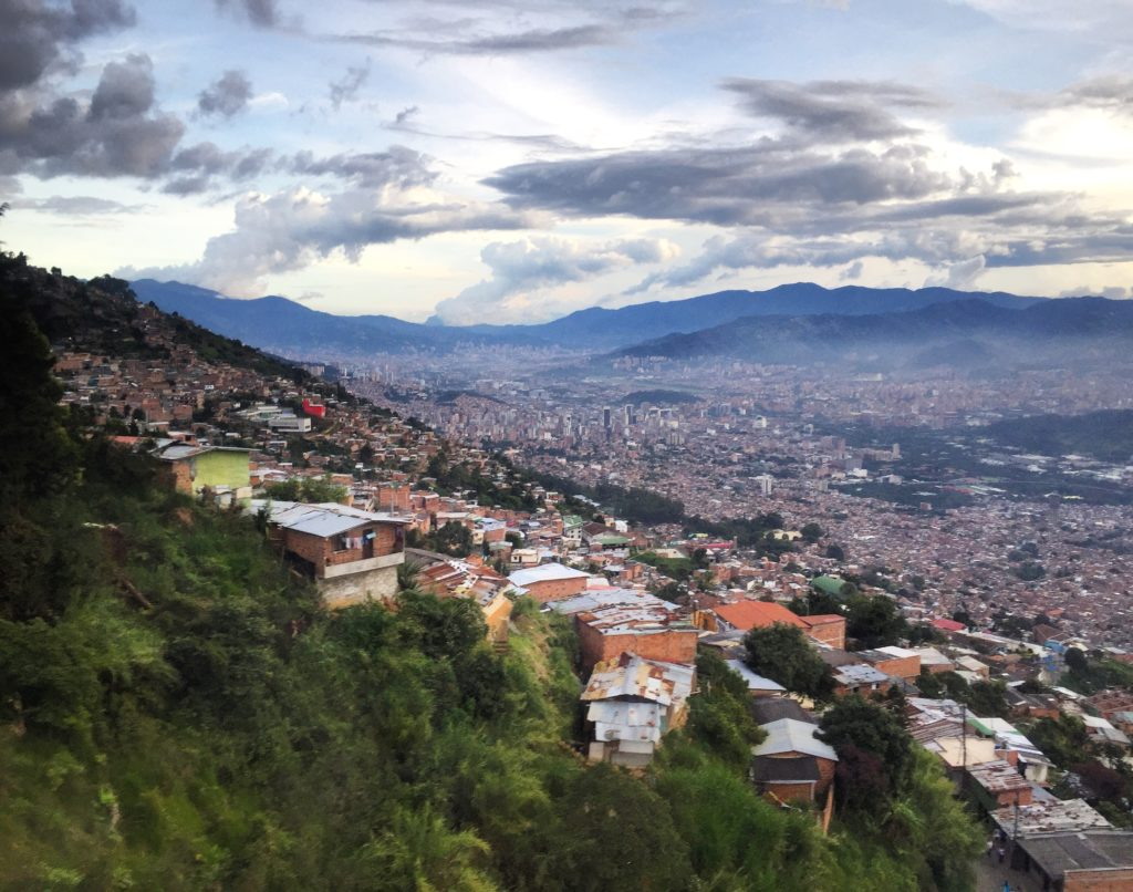 hiking in Medellin at Parque Arvi: view from the cable car