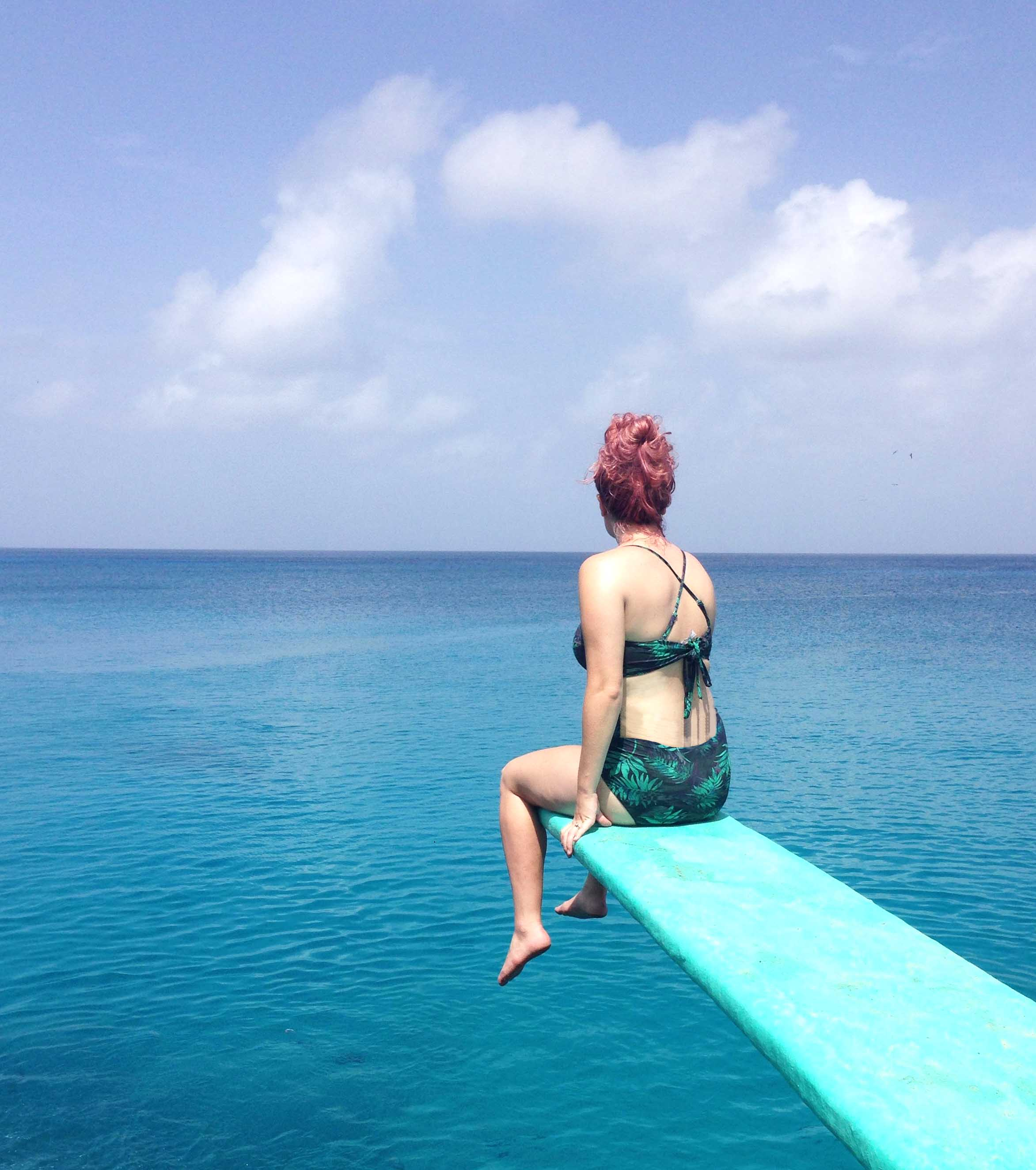 san andres island guide: diving board in the ocean