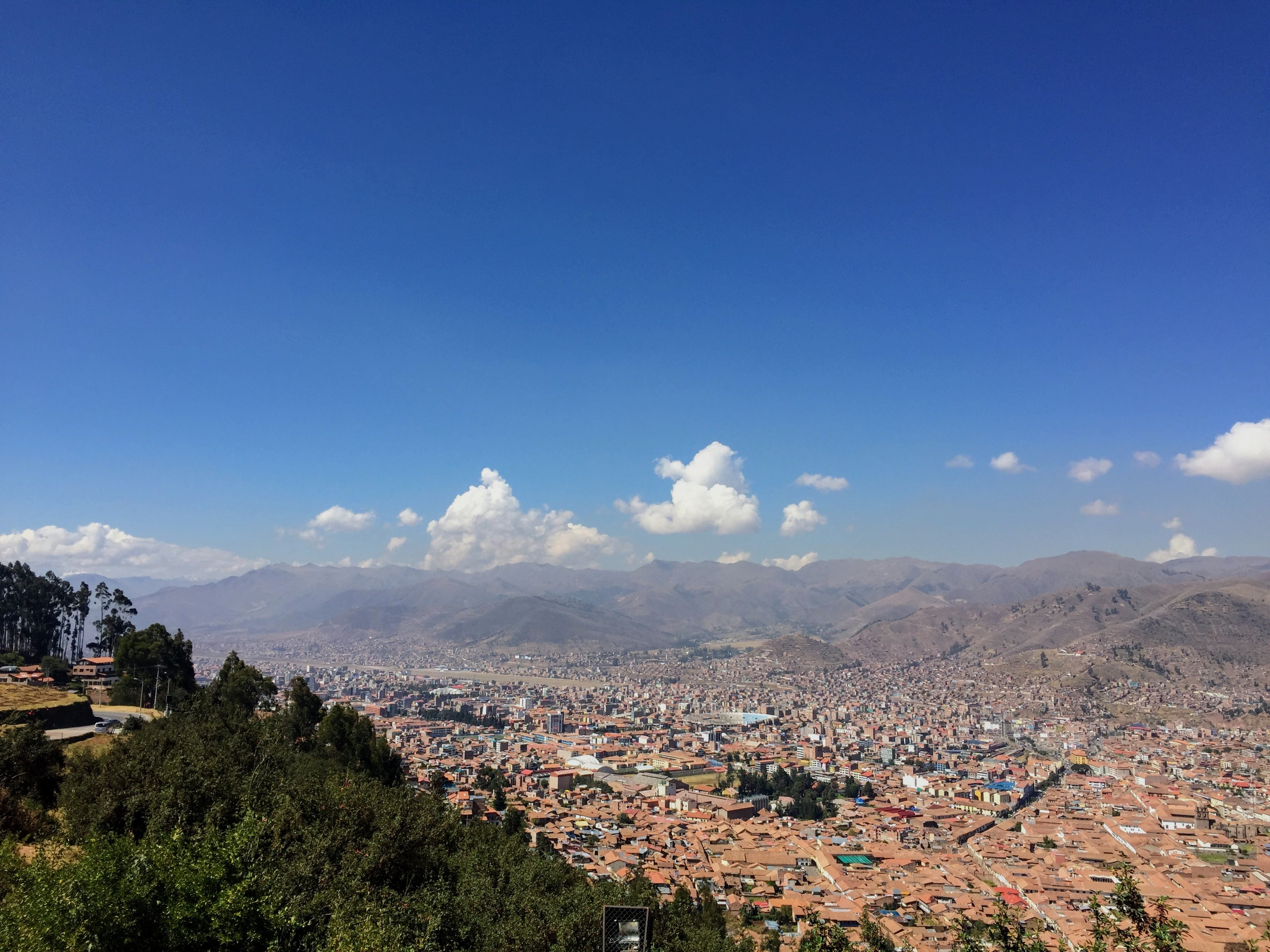 view of the city on a hike in cusco