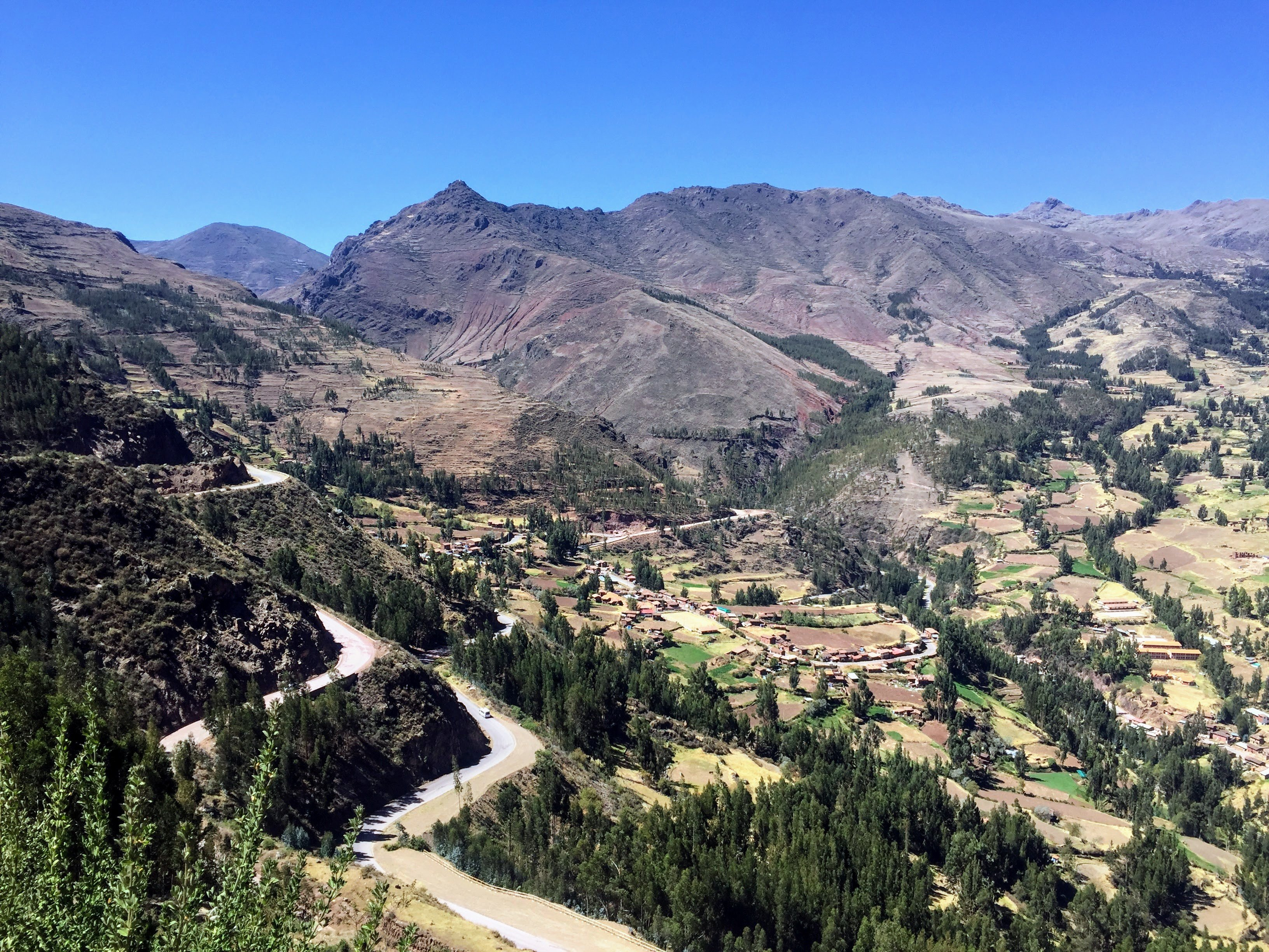 View of Pisac, Peru from the Pisac ruins