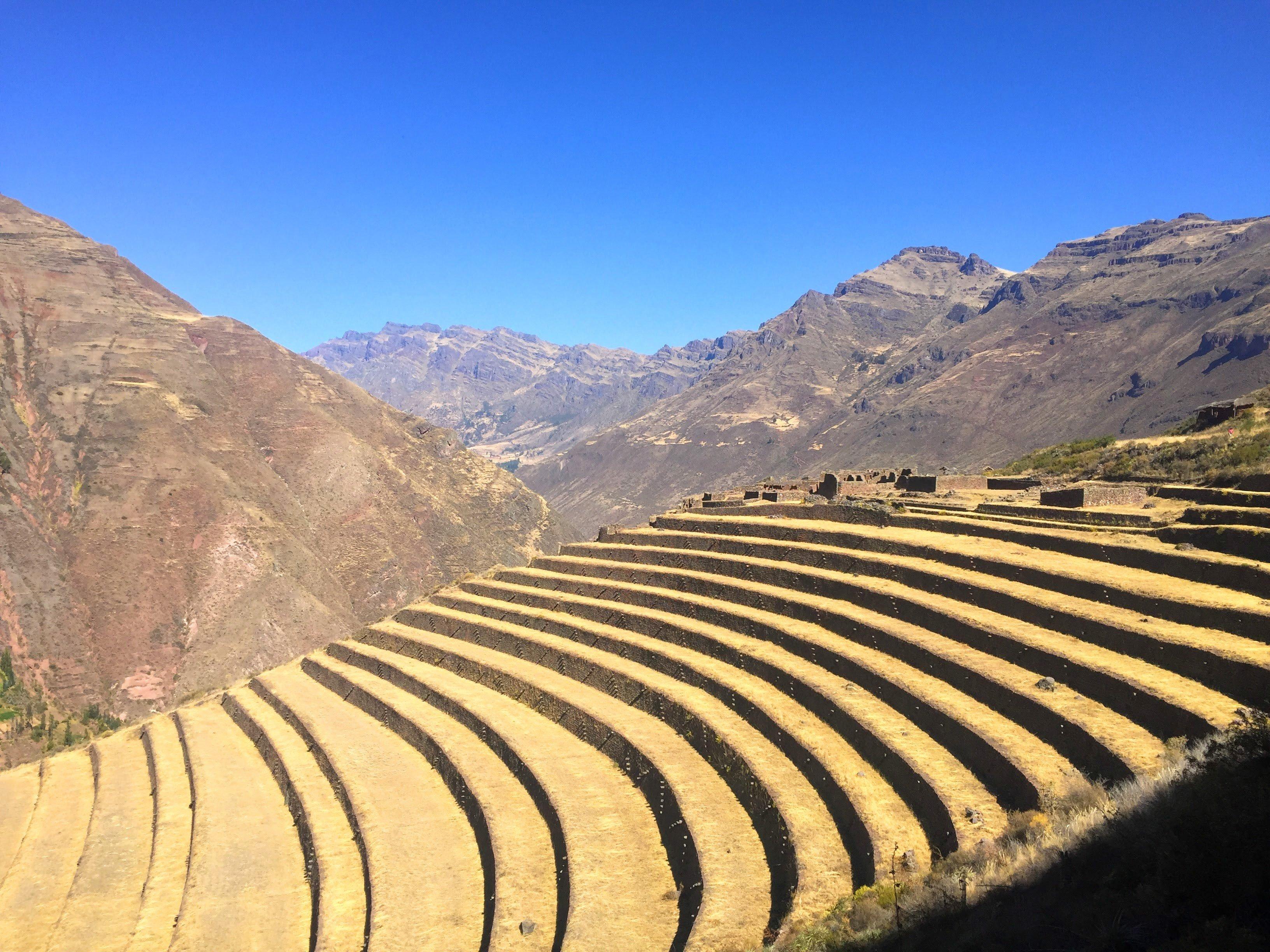 Incan terraces at the Pisac Ruins in Peru