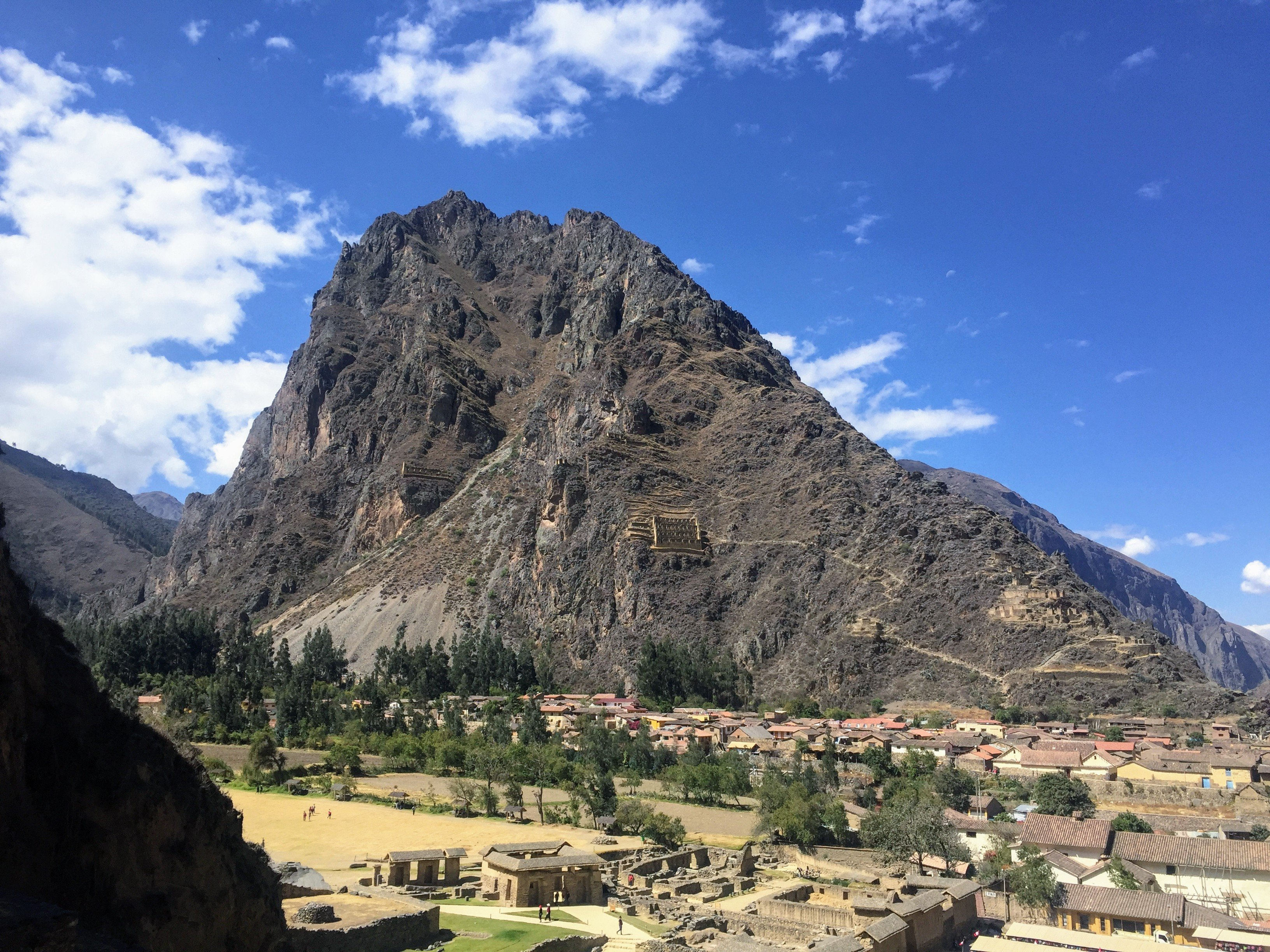 view from the Ollantaytambo ruins in Peru's Sacred Valley