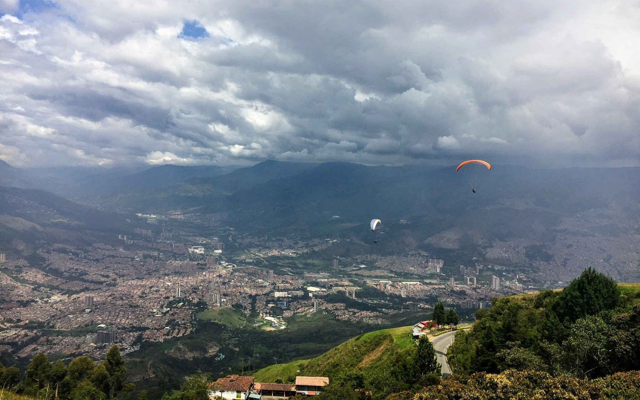 Paragliding is a popular thing to do in Medellin