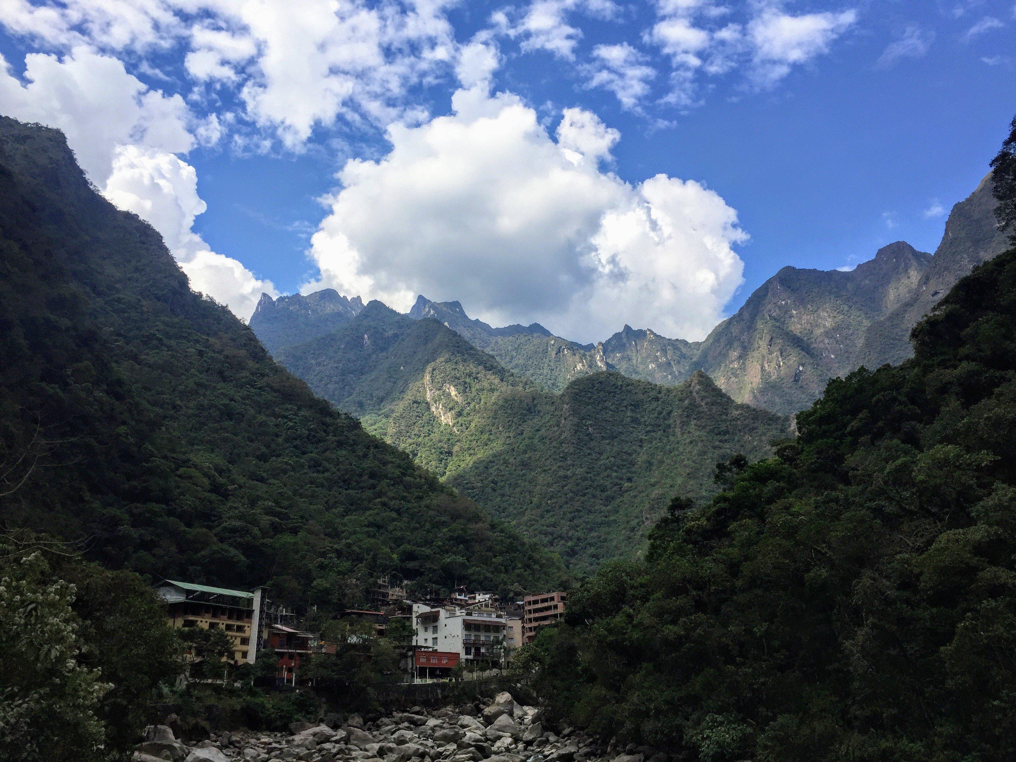 Entering Aquas Calientes on the Salkantay Trek to Machu Picchu