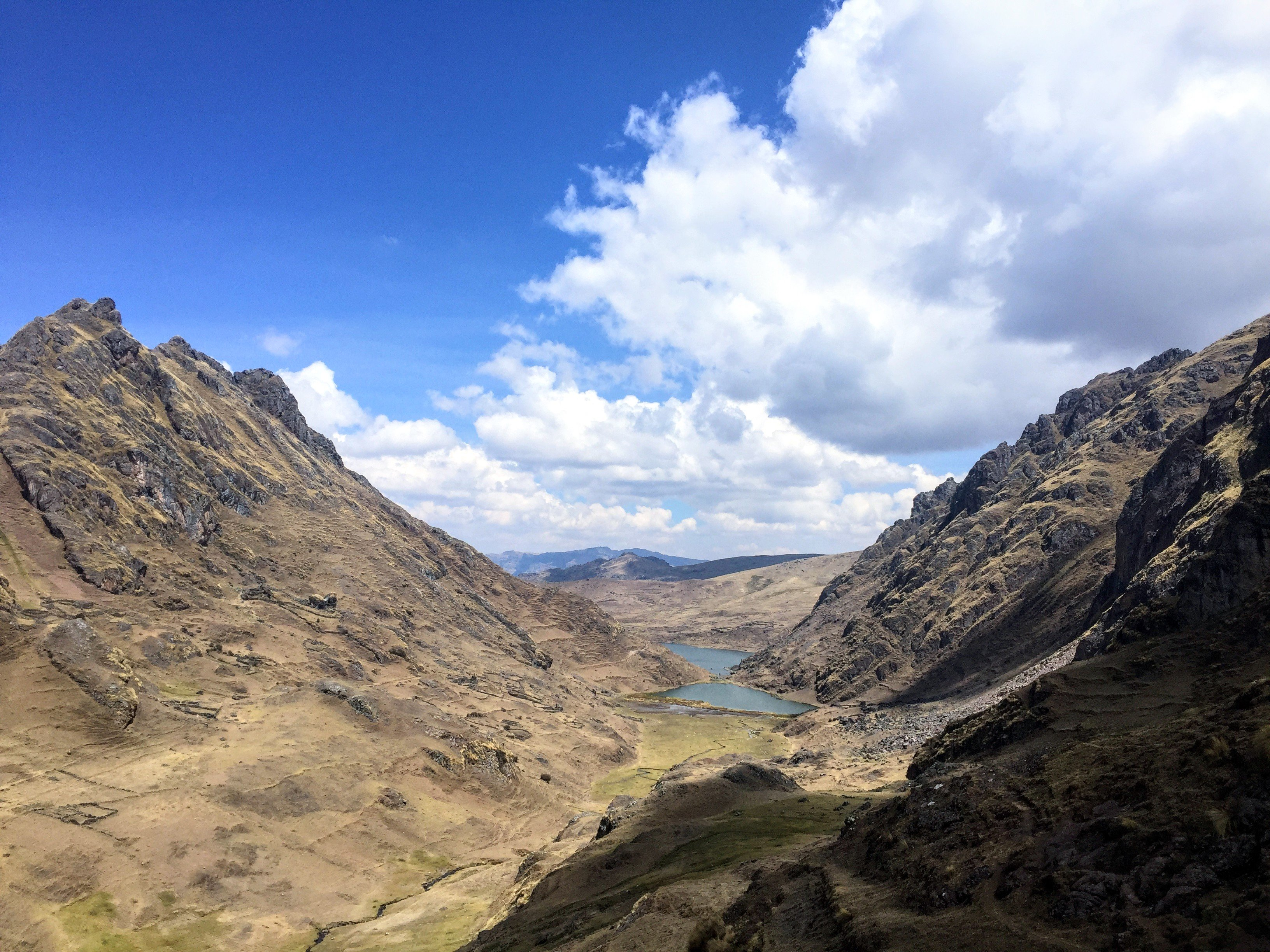 view of Pisac's three lakes on the Kinsa Cocha hike