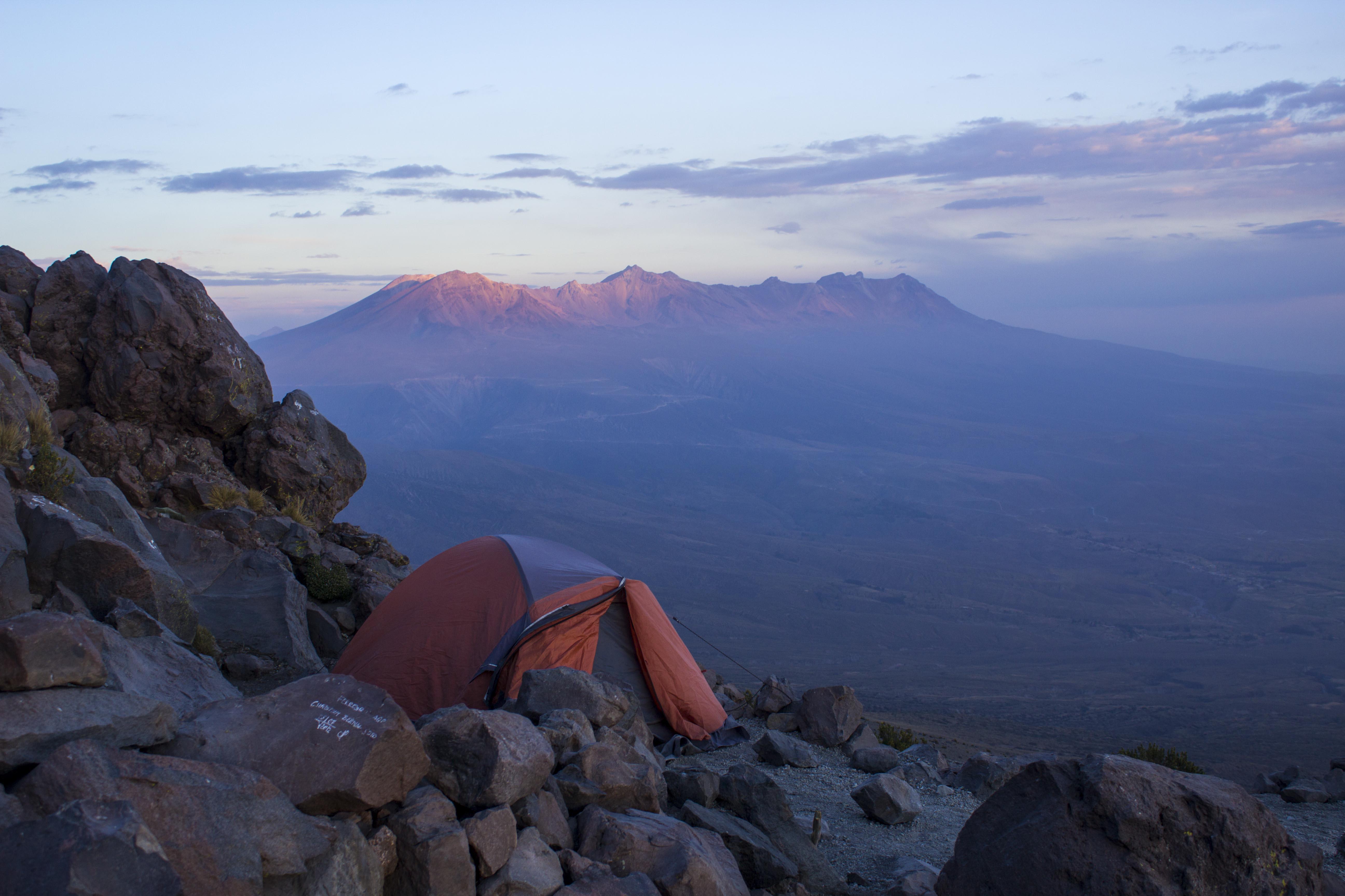 campsite on Misti Volcano in Arequipa, Peru