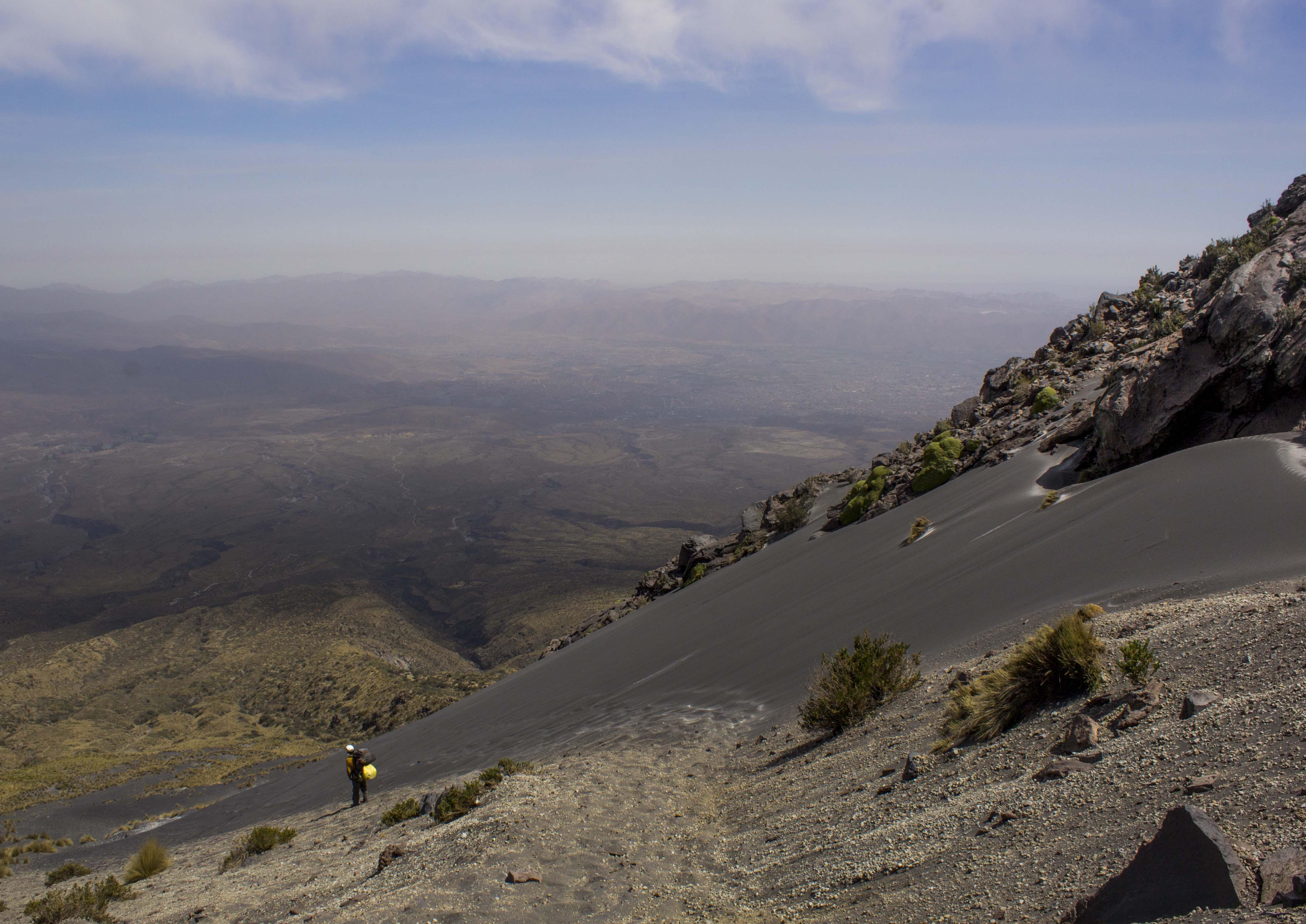 Descending Misti Volcano in Arequipa, Peru