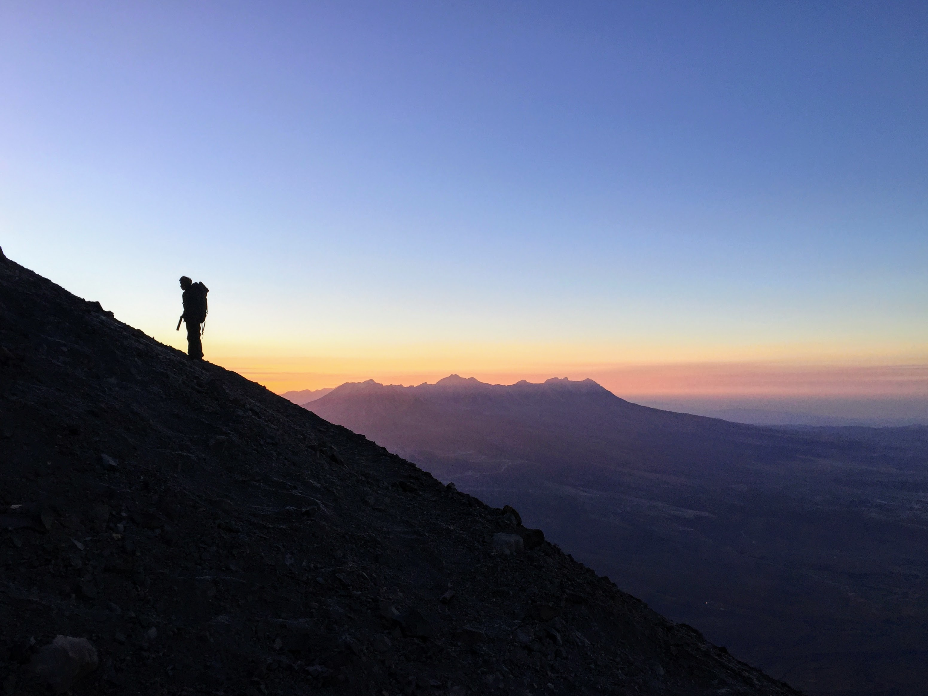 guide climbing El Misti Volcano at sunrise