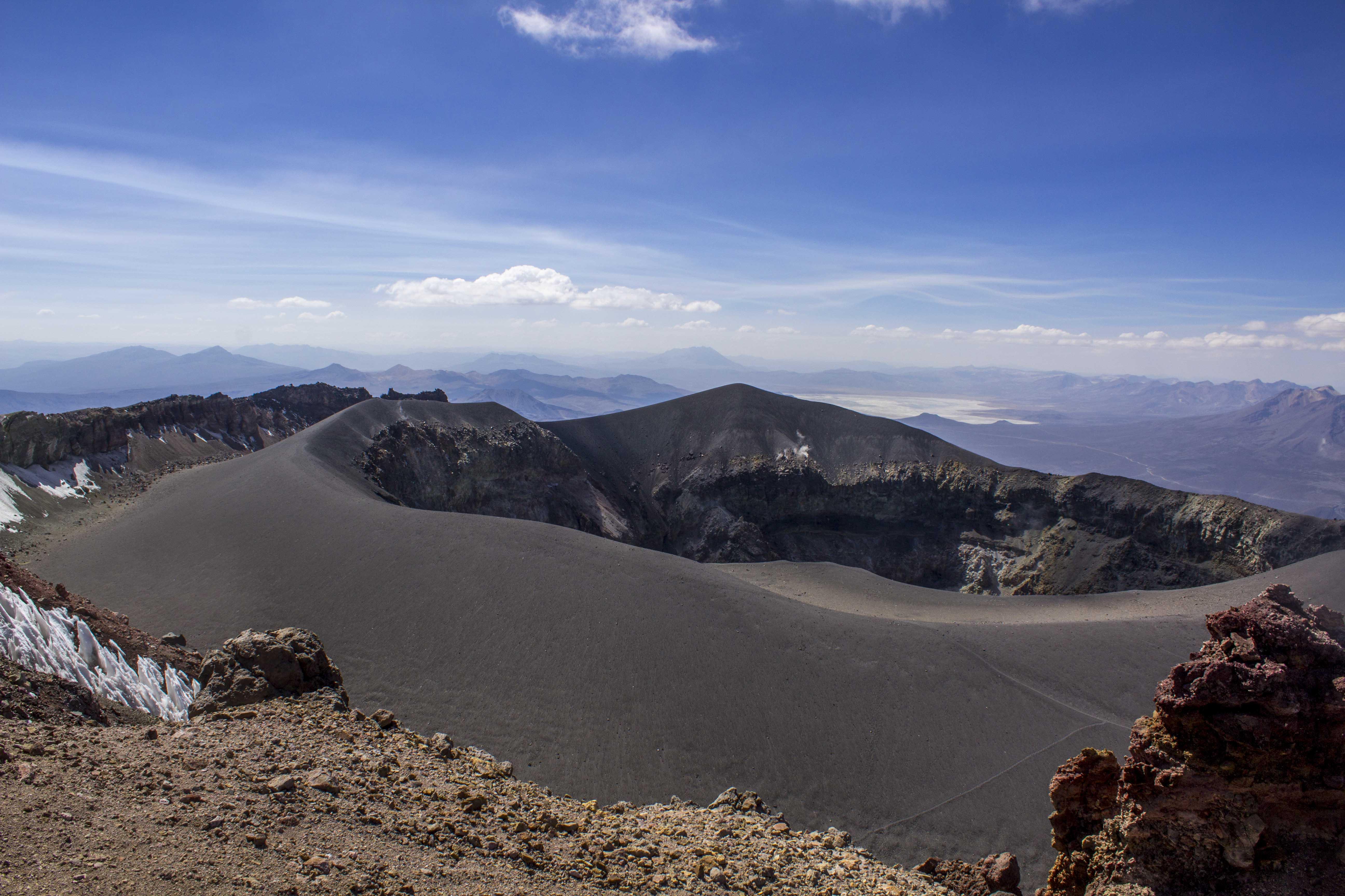 crater of Misti Volcano in Arequipa, Peru