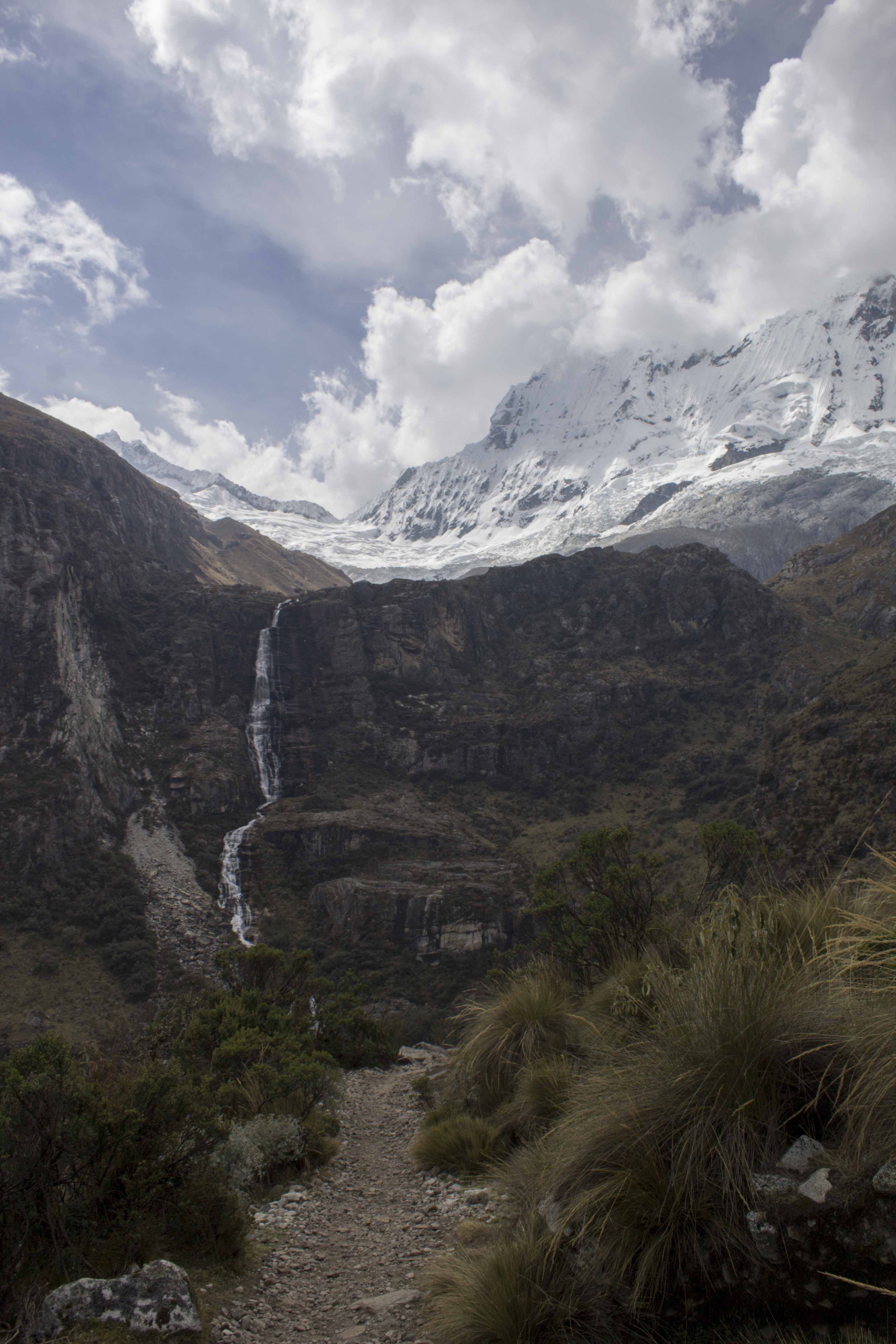 mountain and waterfall in northern Peru