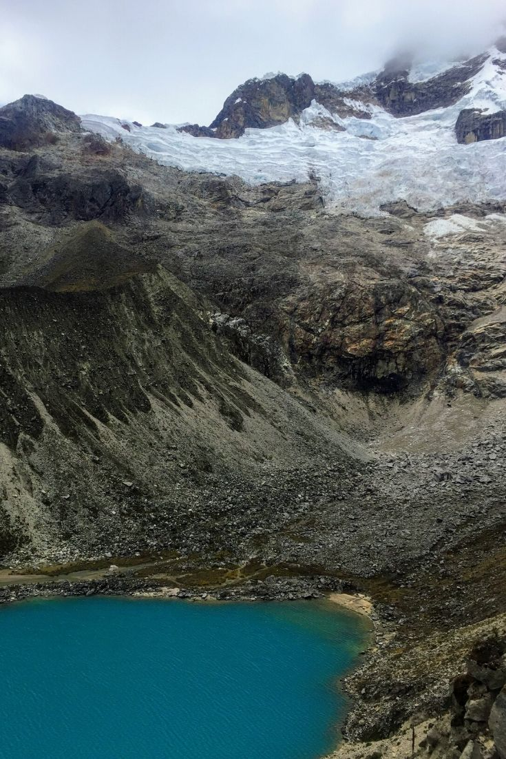 Blue glacial lake and snowy peak