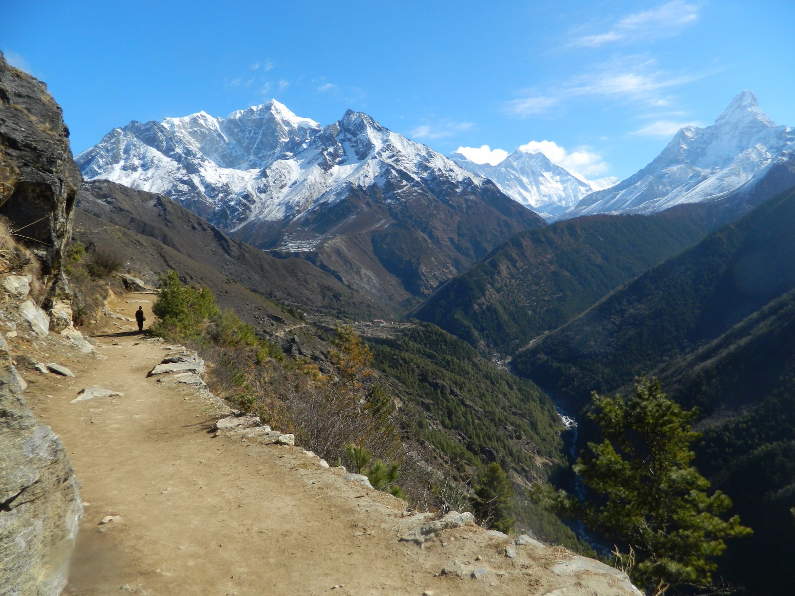hiking on the Everest View Trek in Nepal