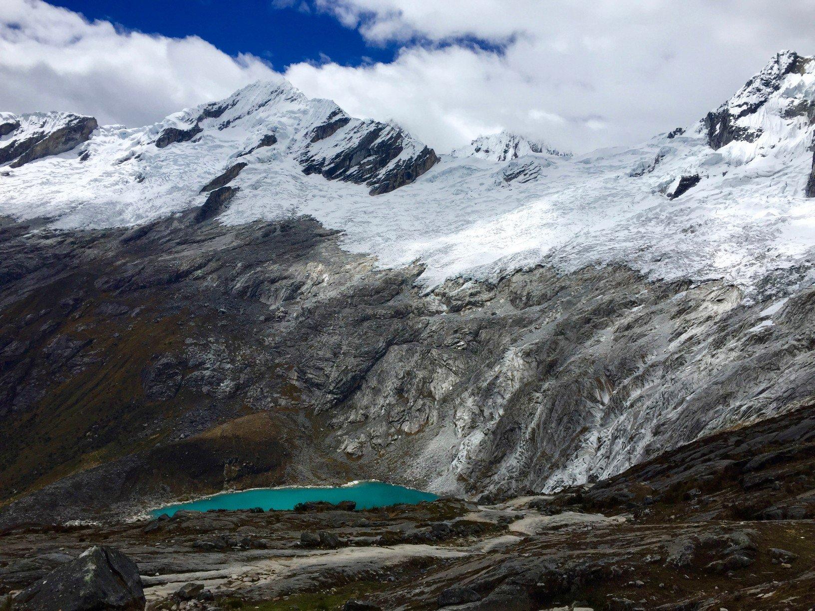mountain and lake on Peru's Santa Cruz trek
