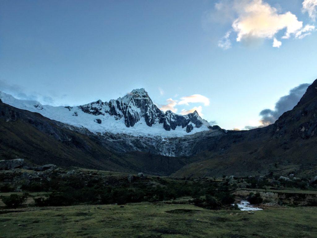 mountains in the morning on the Santa Cruz Trek
