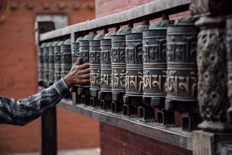 prayer wheels in Kathmandu