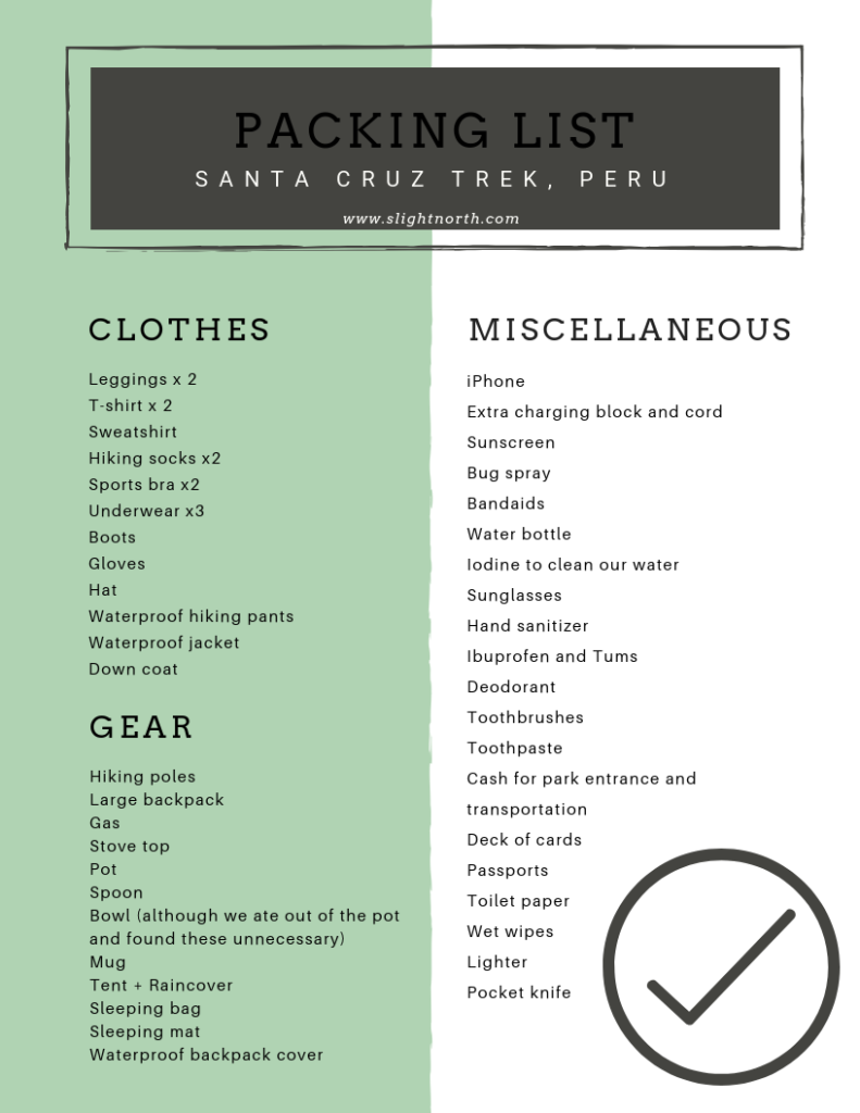 packing list for the Santa Cruz trek in Peru