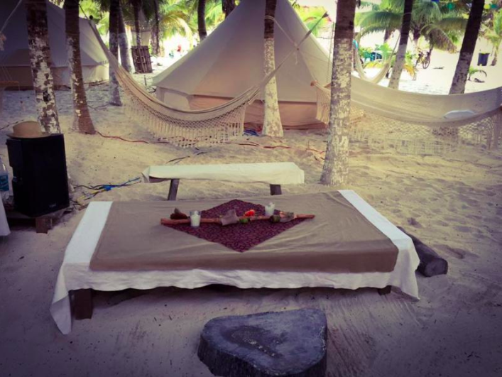 Tents and hammocks at Tulum's beachfront camping