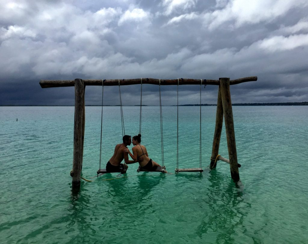 water swings at Laguna Bacalar