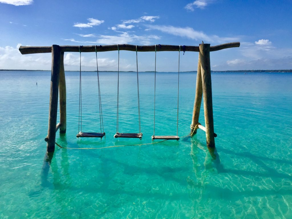 water swings in laguna bacalar