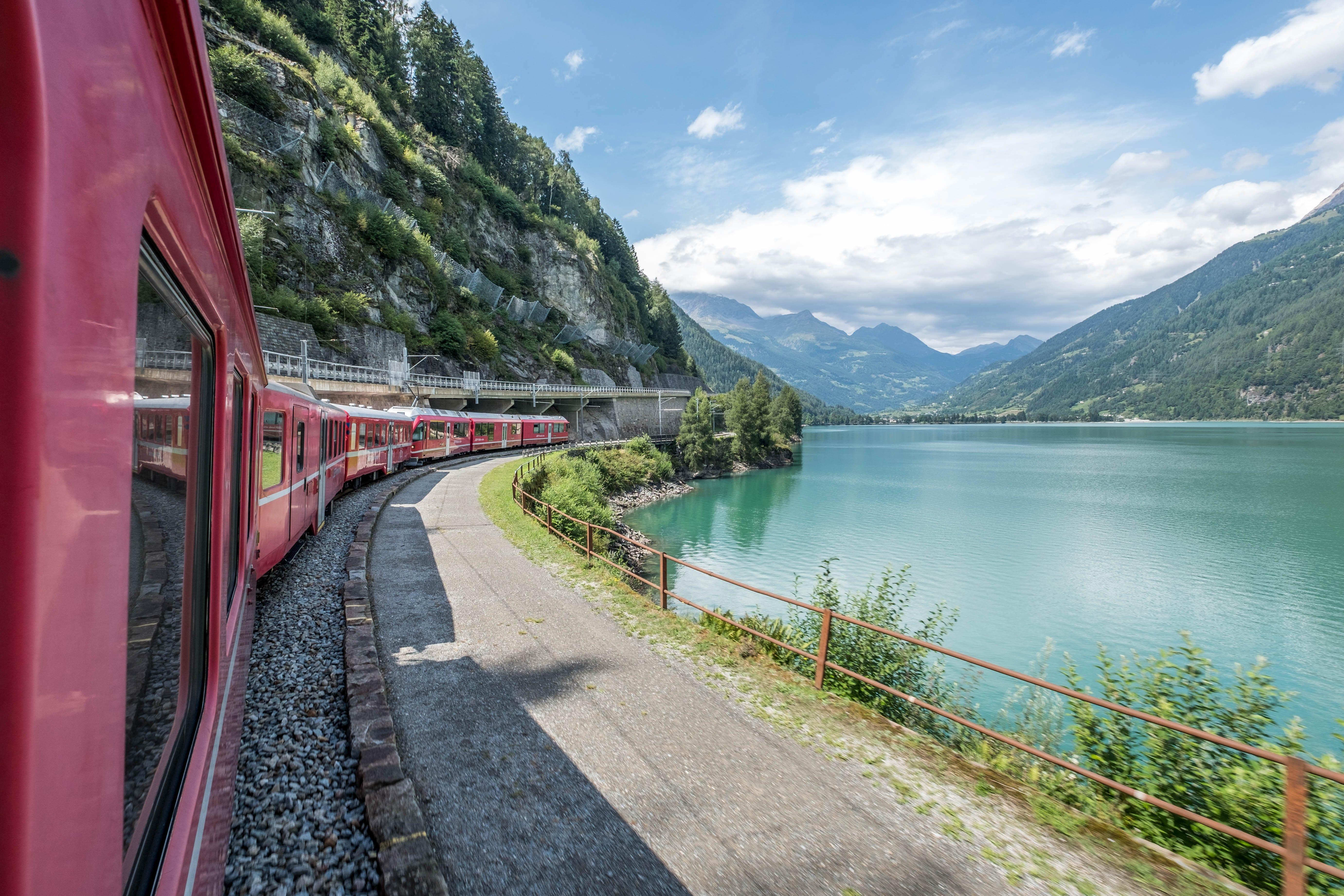 train and a lake