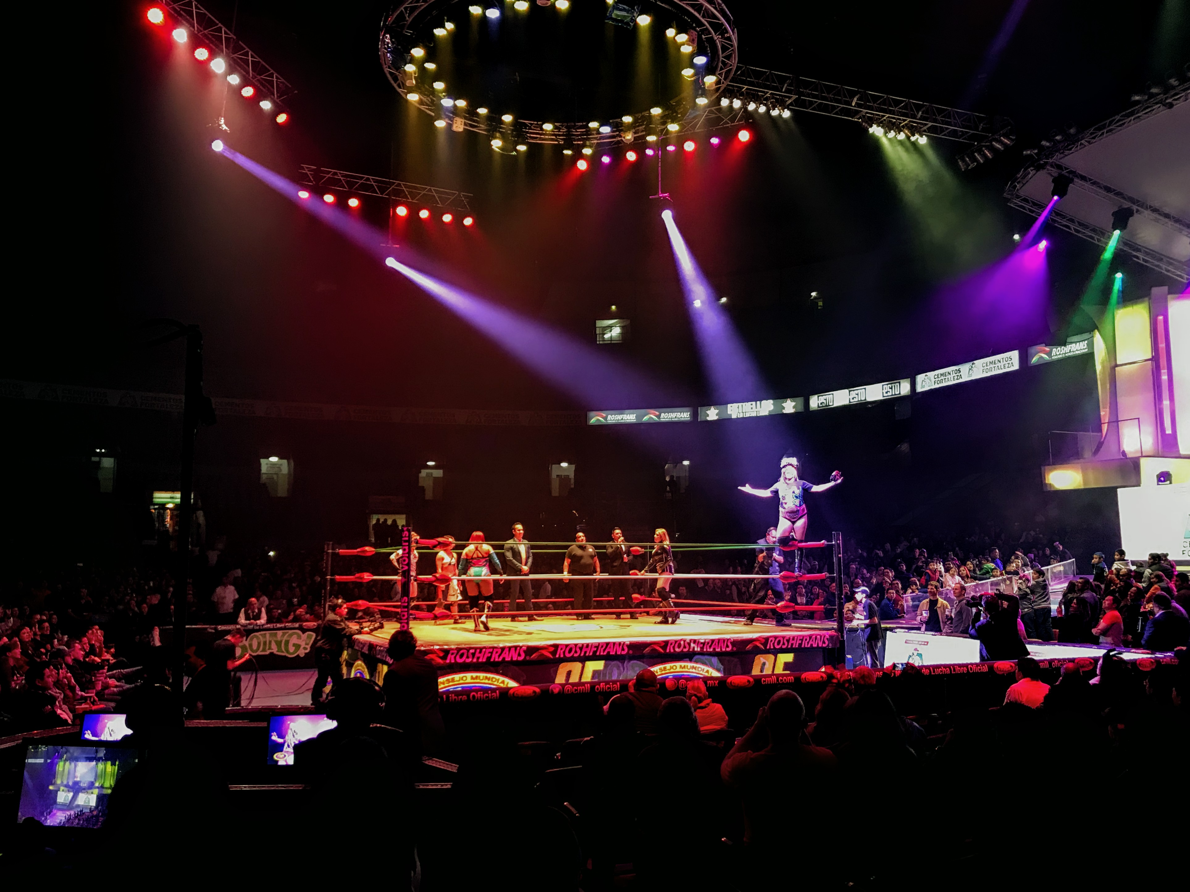Lucha Libre wrestlers in the ring in Mexico City