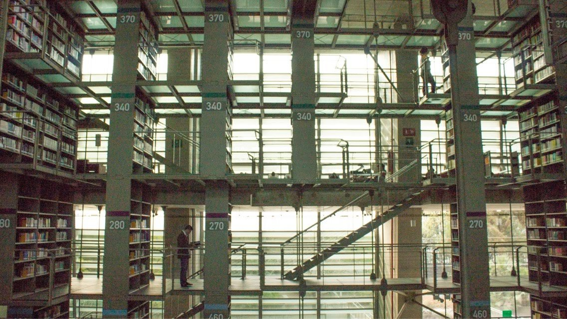 side view of the book shelves at biblioteca vasconcelos