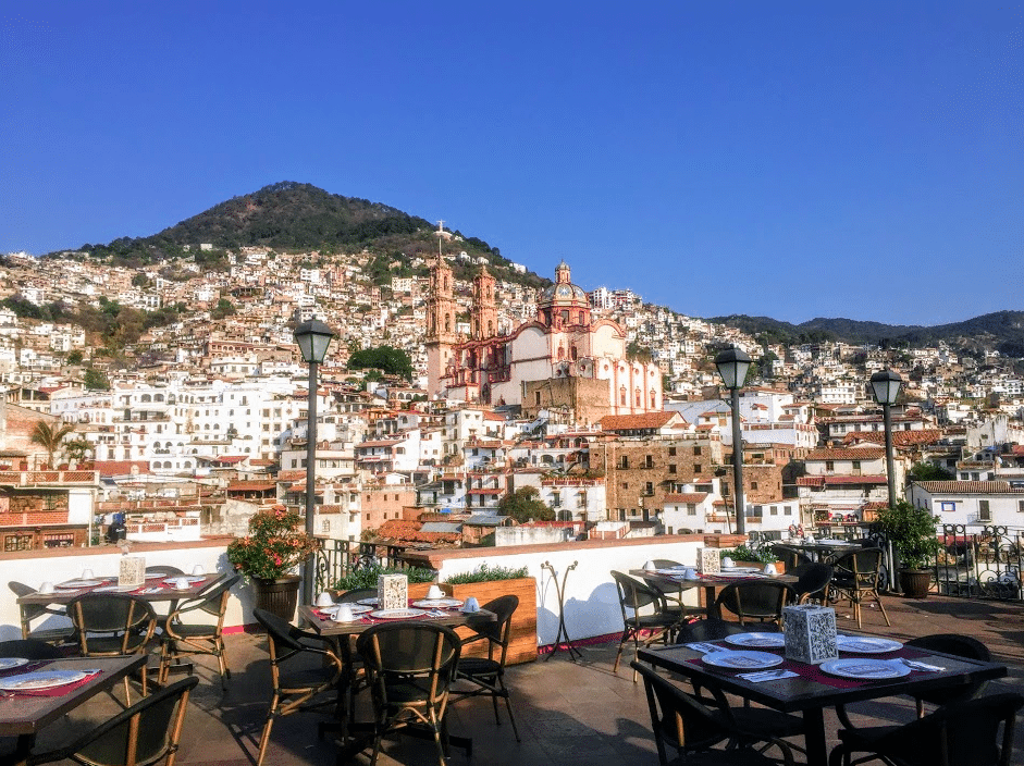 Panoramic view of Taxco from Rosa Mexicano Restaurant