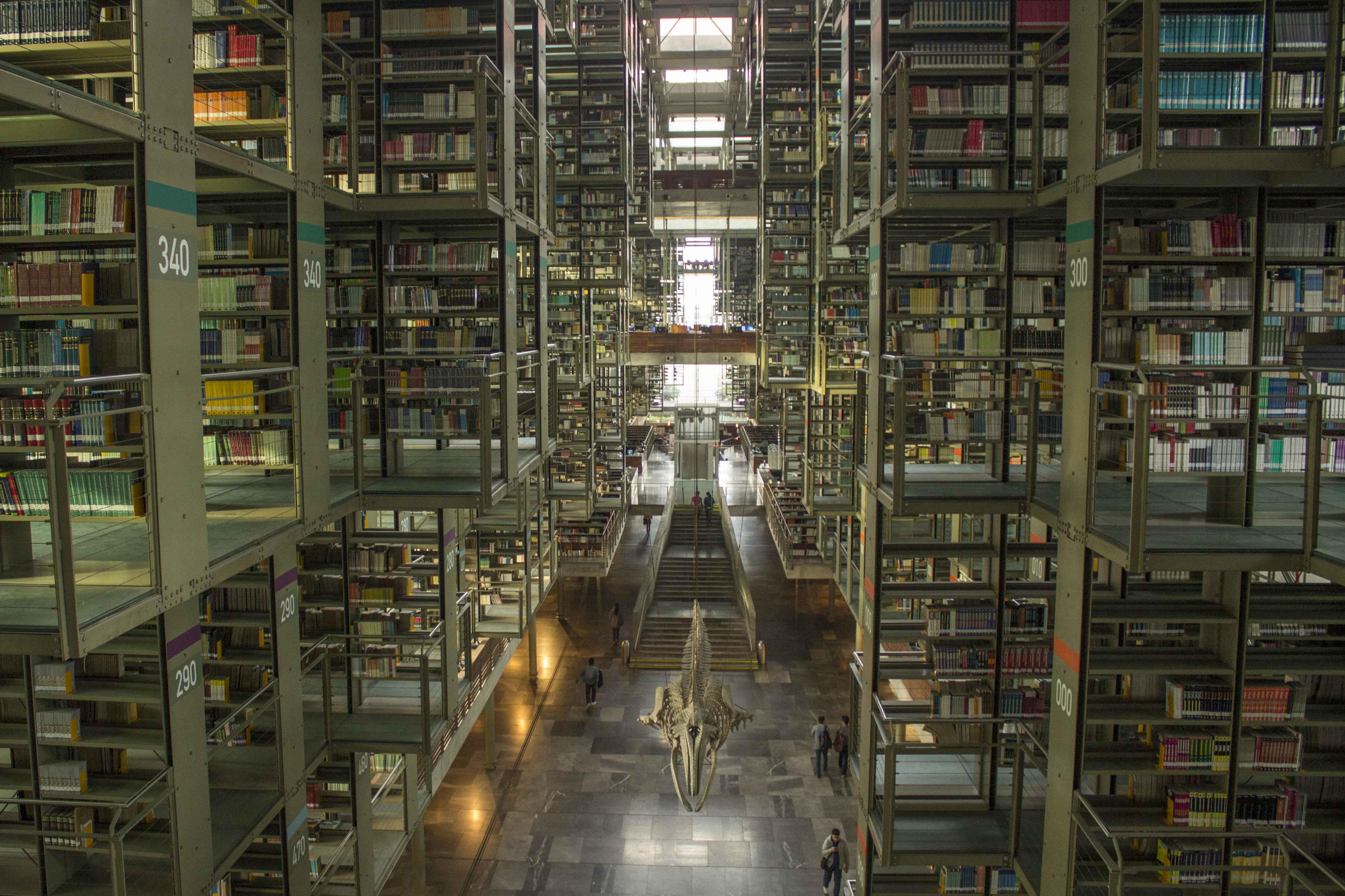 utra modern book shelves at biblioteca vasconcelos