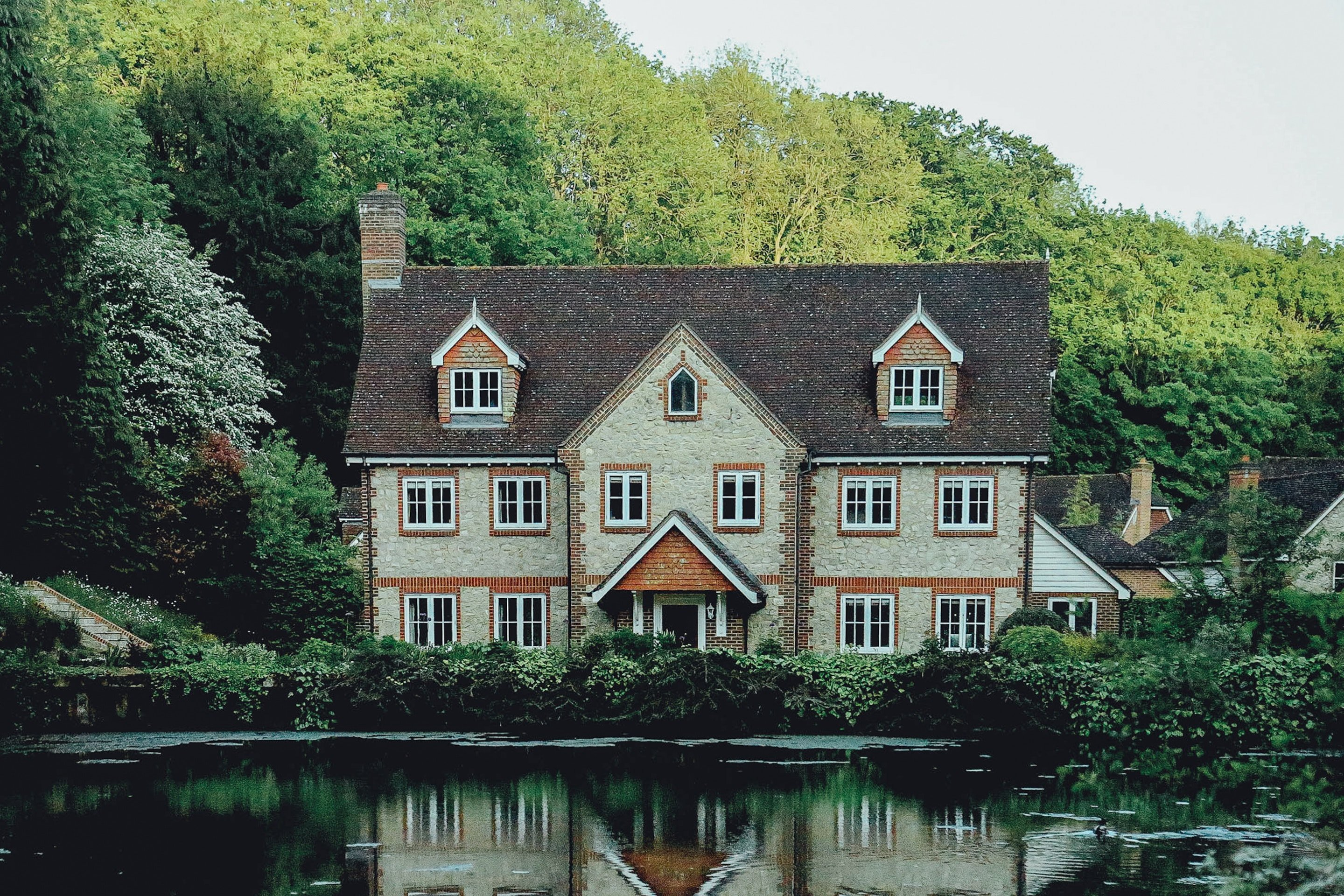manor house on a lake