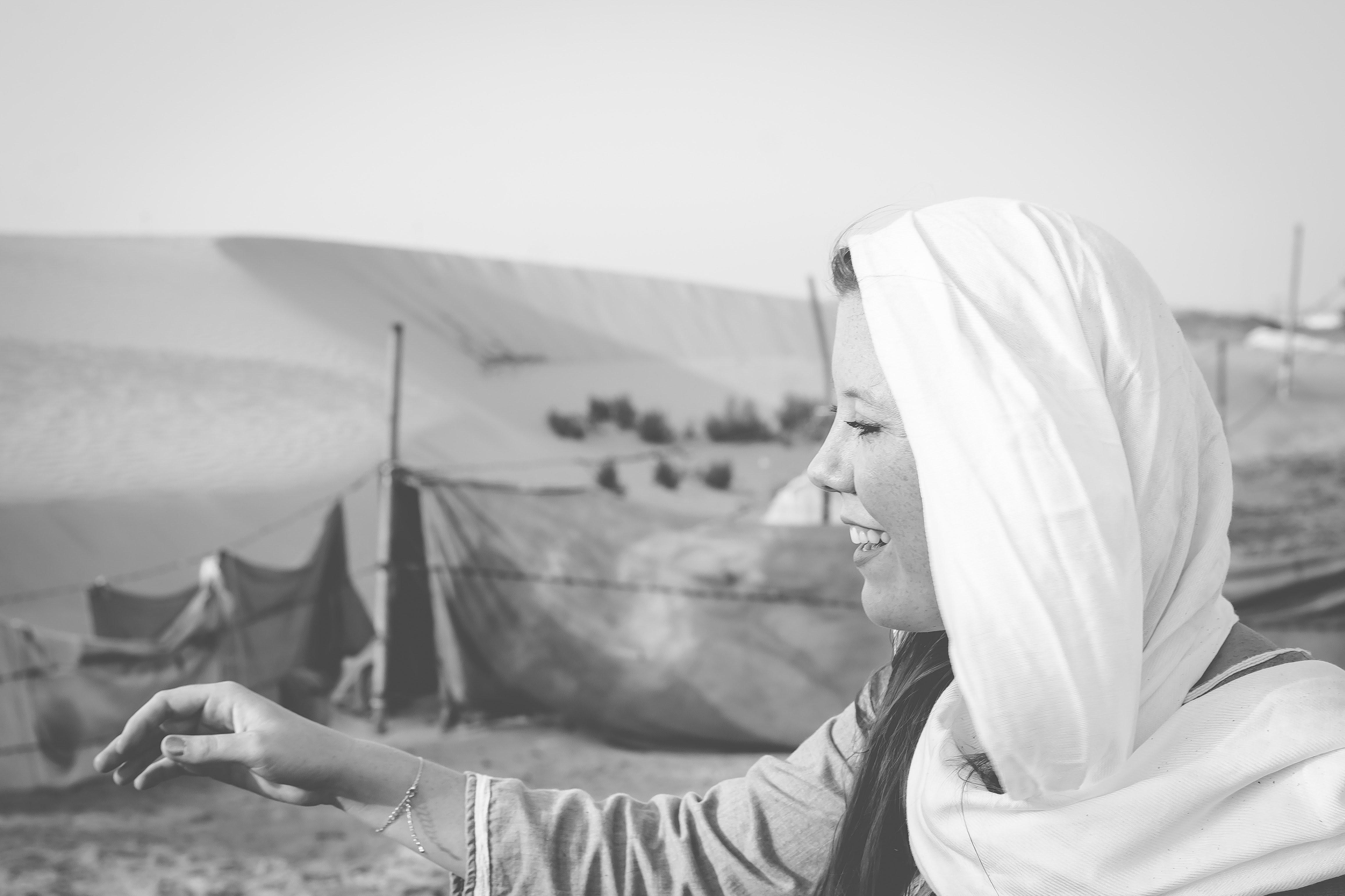 girl smiling in the desert
