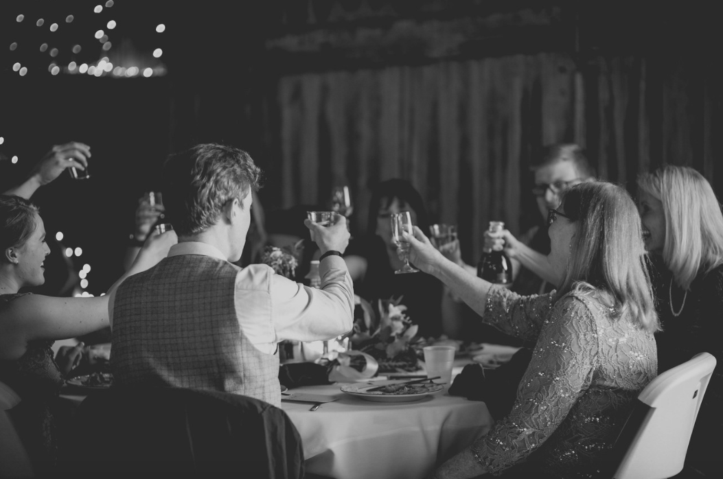 table toasting at a wedding