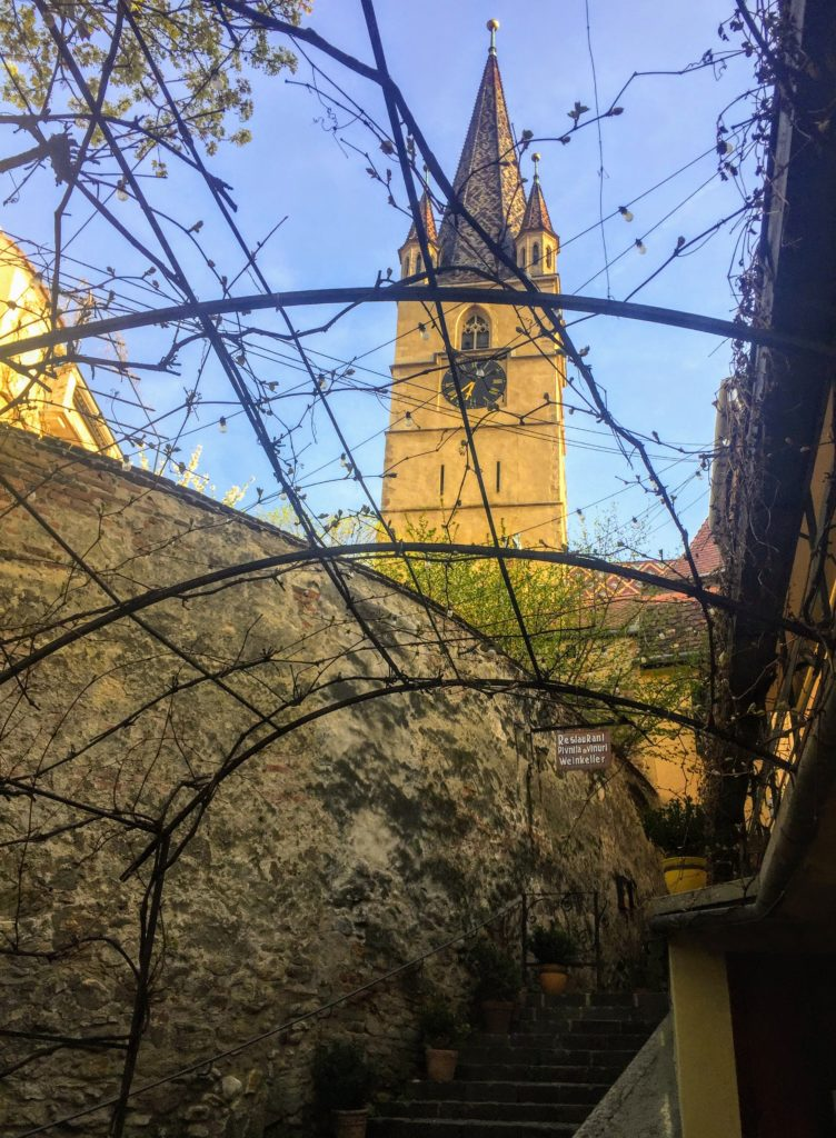 view from the Wine Keller patio in Sibiu