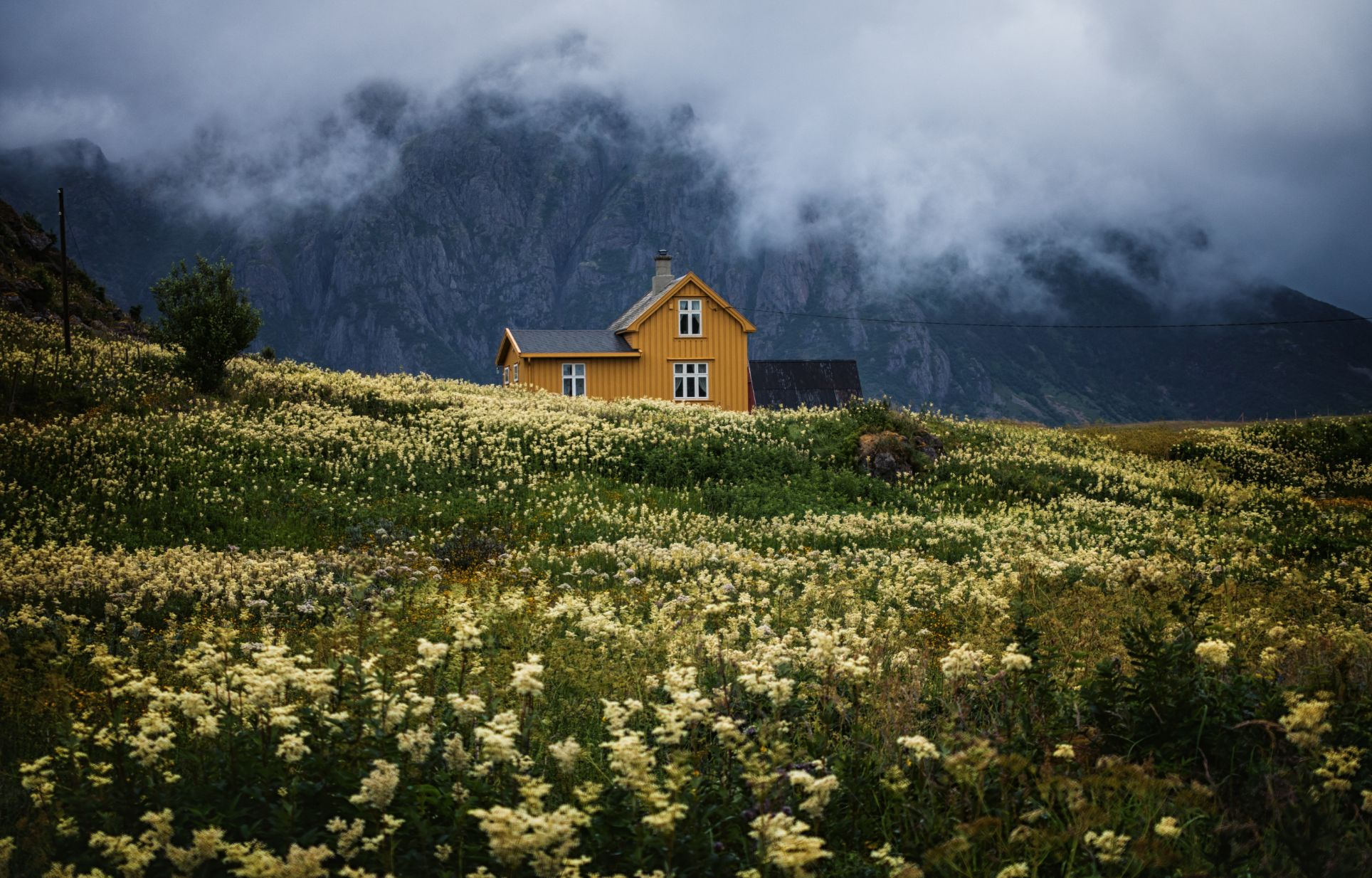 small yellow house in a field with mountains