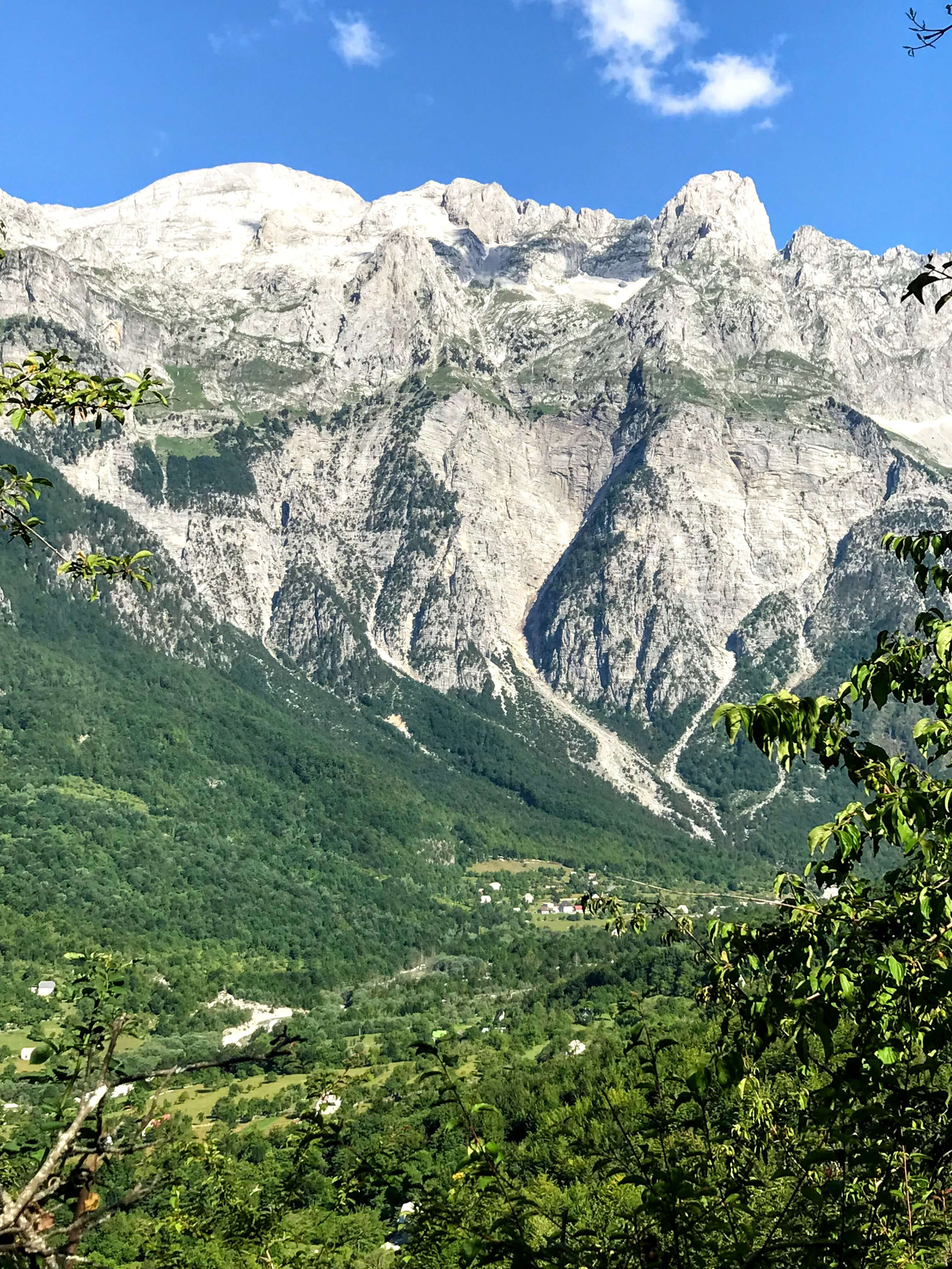 view of Theth Valley on the climb to Valbona Peak