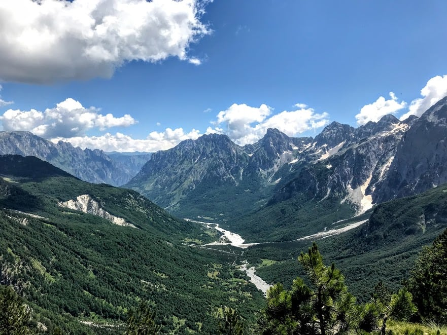 View of Valbona Valley in Albania from Valbona Peak