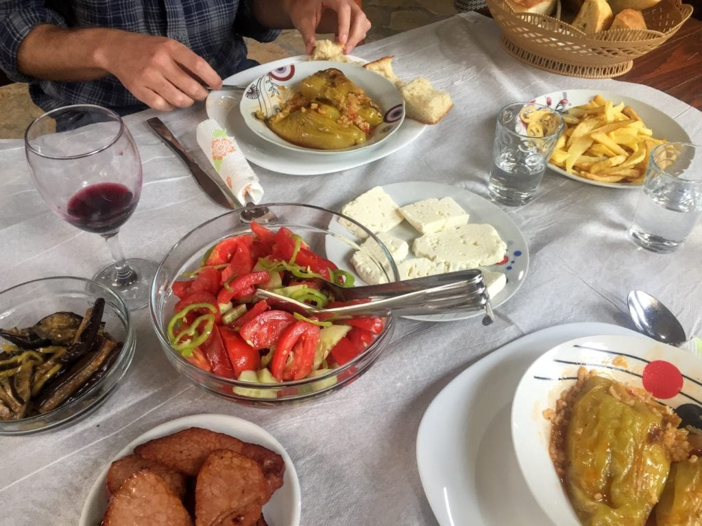 traditional food in Albania at a guest house in Theth