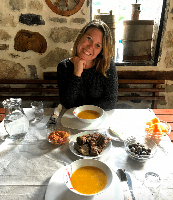 home-cooked Albanian food at the guest house in Theth