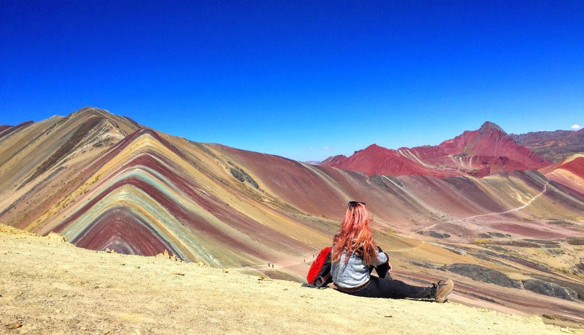 Girl at Rainbow Mountain in Peru