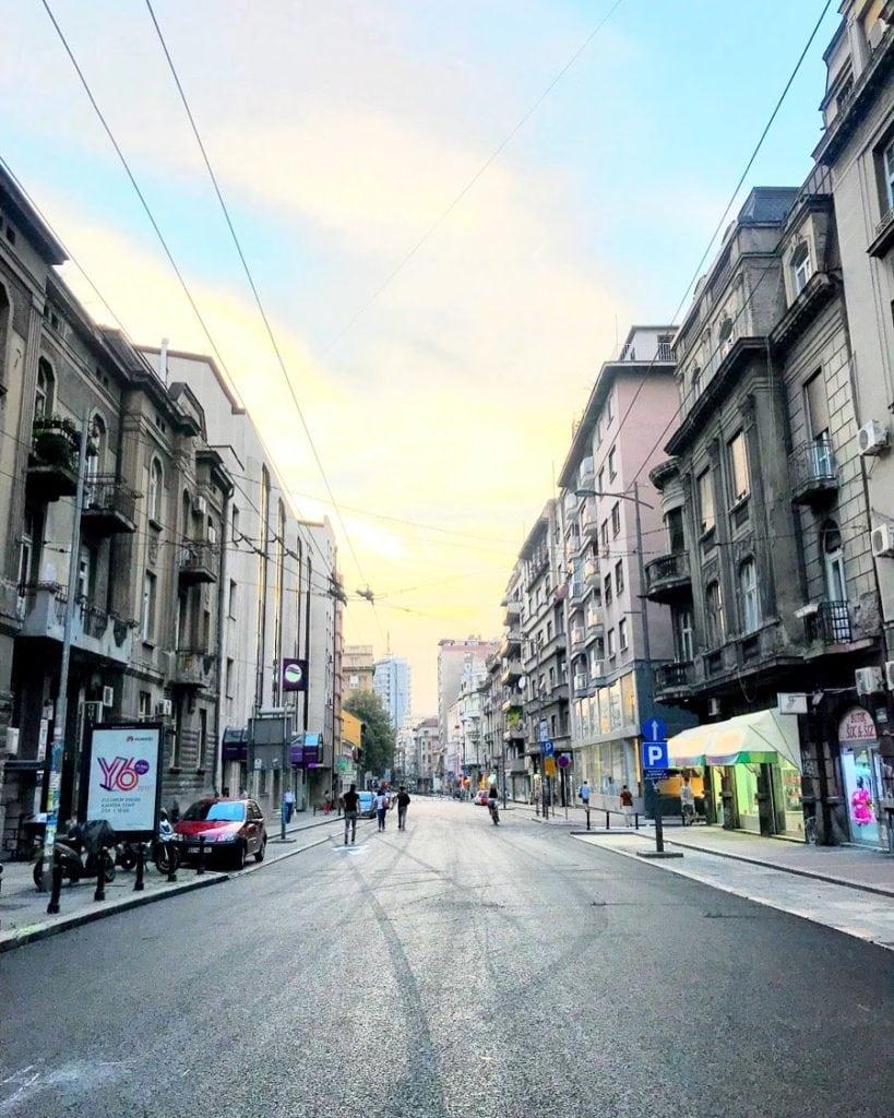 sunset on Svetogorska street in Belgrade
