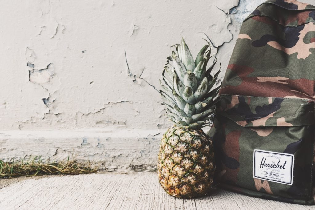 pineapple and backpack
