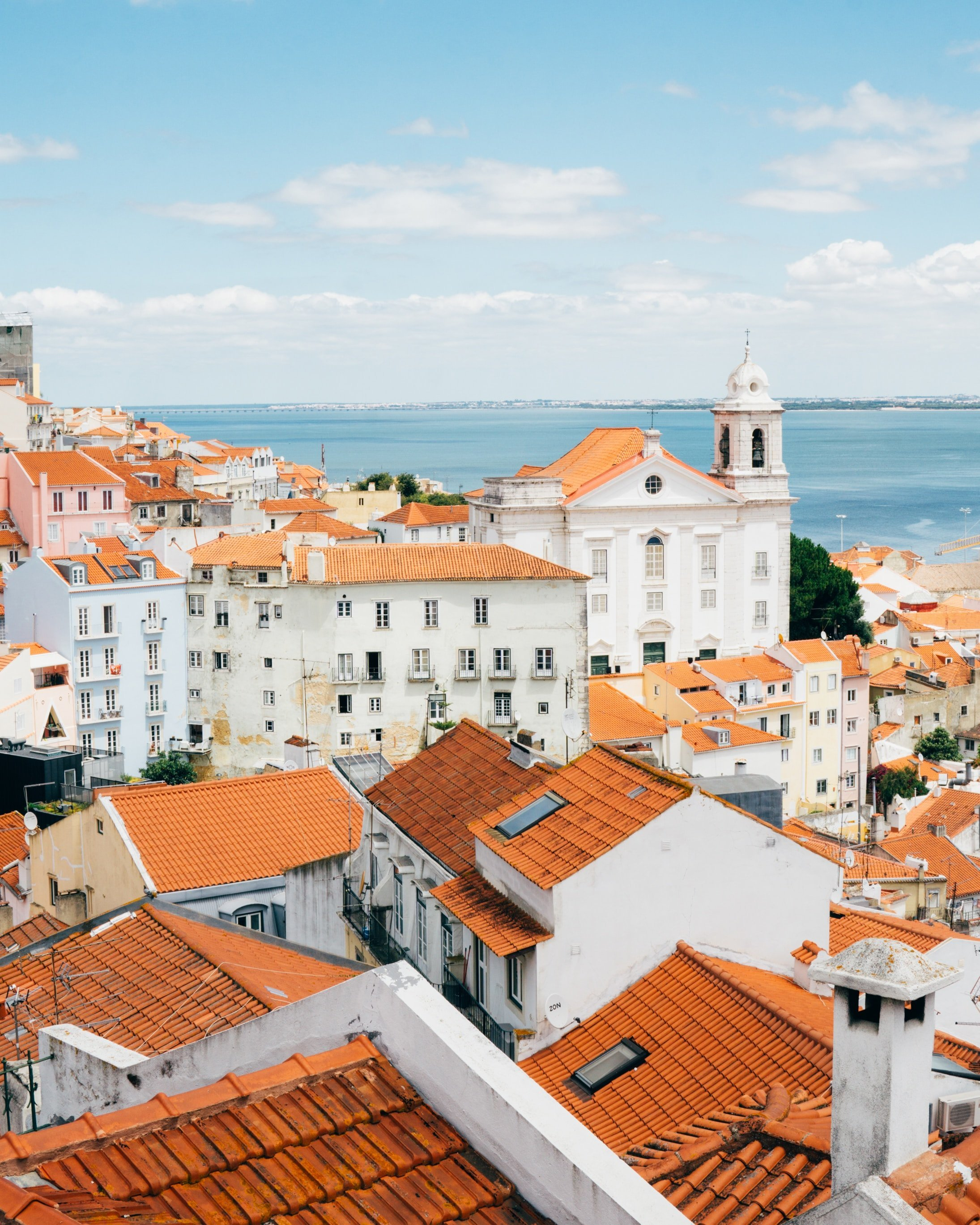the famous red roofs of Lisbon, Portugal