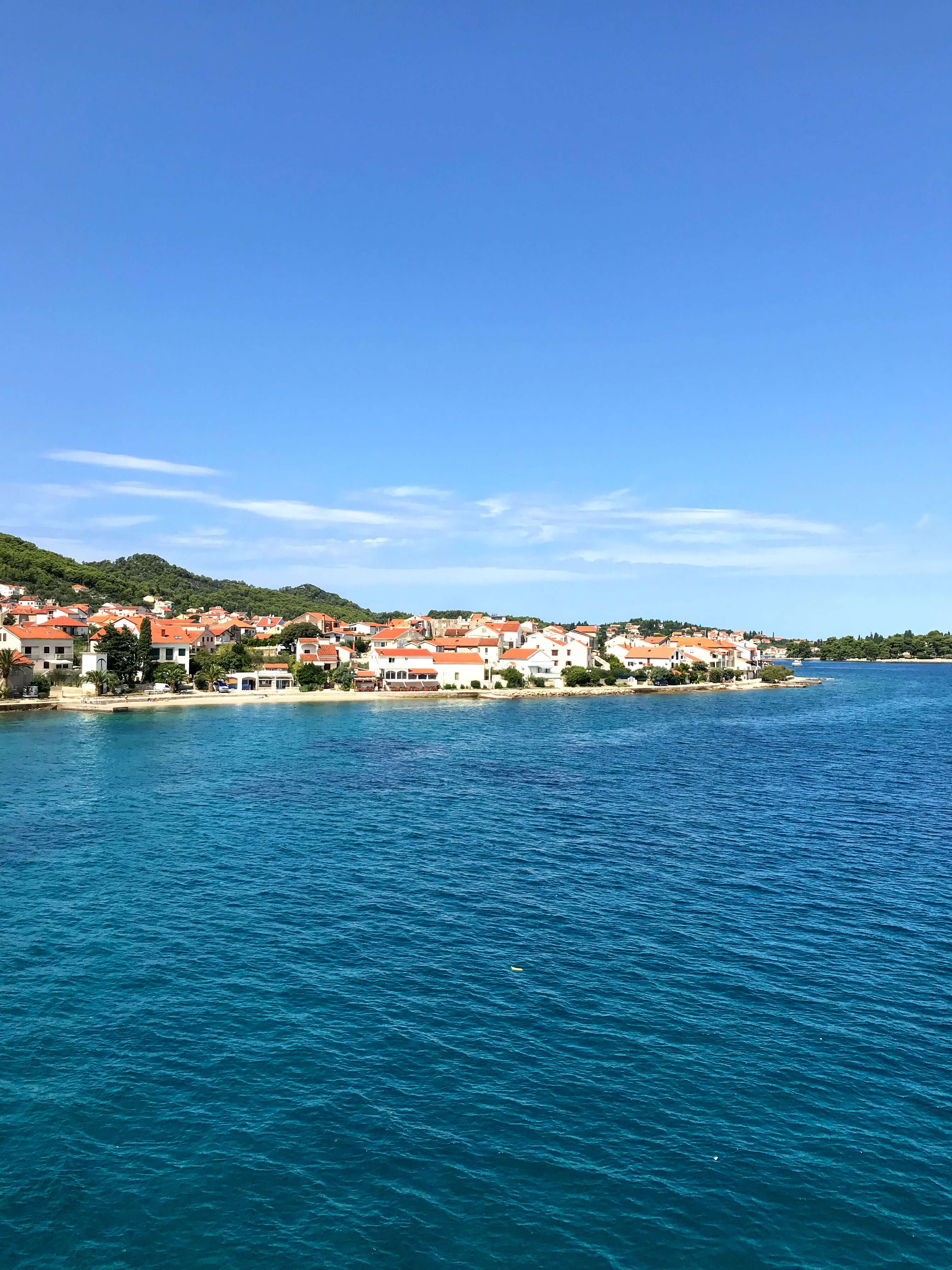 view of Preko on our ferry from Zadar to Ugljan, Croatia