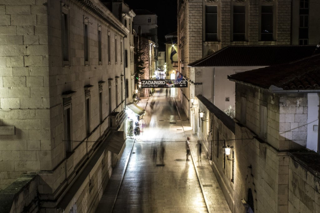 night time in the old town of Zadar