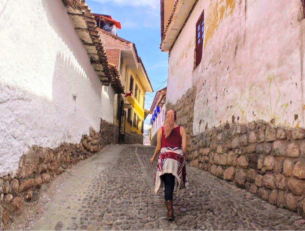 colorful cobblestone streets in Cusco