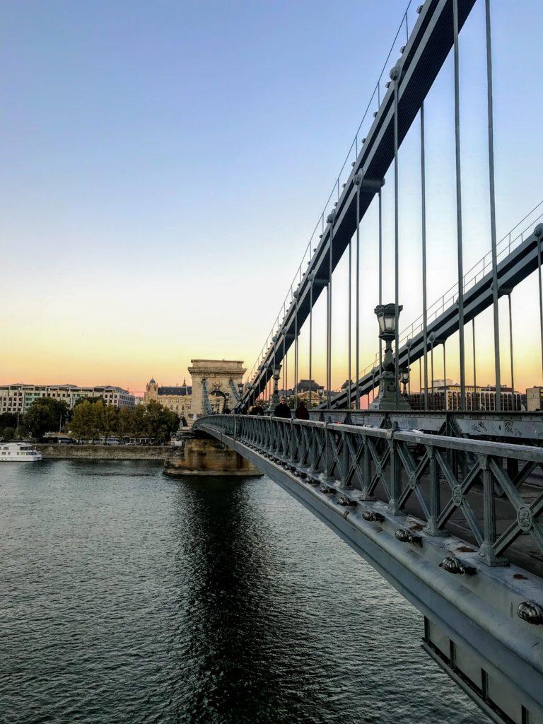 chain bridge in Budapest at sunset